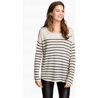 H&M Sweter oversize 0217234025 Jasnoszary/Paski