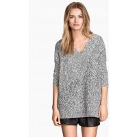 H&M Sweter w prążek 0258323012 Czarny melanż