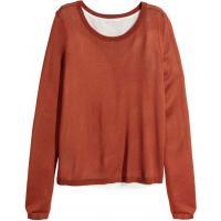 H&M Cienki sweter 0312037006 Ciemnopomarańczowy