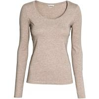 H&M Top z bawełny pima 0121613037 Beżowy melanż