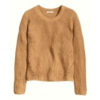 H&M Sweter z dzianiny w prążek 0308982009 Camel