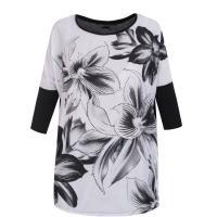 Monnari T-shirt z kwiatami black&white TSH4700