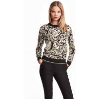 H&M Błyszczący sweter z jedwabiem 0336835001 Czarny/Wzór