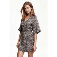 H&M Satynowe kimono 0215984015 Czarny/Wzór