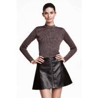 H&M Krótki sweter z półgolfem 0323920012 Ciemnofioletowy melanż
