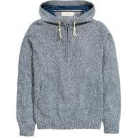 H&M Bawełniany sweter z kapturem 0346696001 Niebieski melanż