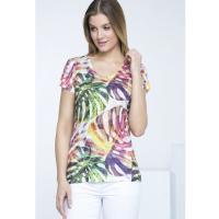 Monnari T-shirt z tropikalną roślinnością TSH2690