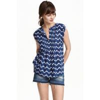 H&M Bawełniana bluzka we wzory 0350210003 Ciemnoniebieski