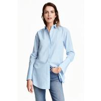 H&M Długa koszula z bawełny 0400936009 Jasnoniebieski