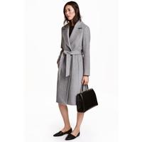 H&M Płaszcz z domieszką wełny 0409498002 Szary melanż