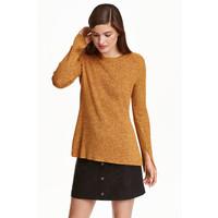 H&M Sweter w prążki 0390157006 Żółty melanż