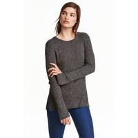 H&M Sweter w prążki 0390157005 Ciemnoszary melanż