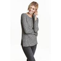 H&M Sweter w prążki 0390157005 Czarny/Biały melanż