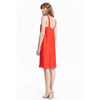 H&M Sukienka z dekoltem w serek 0423095004 Czerwony