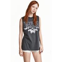 H&M Koszulka z nadrukiem 0257600016 Ciemnoszary/Danzig