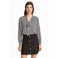 H&M Bluzka z wiązaniem 0401479002 Czarny/Białe paski