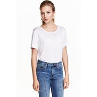 H&M Dżersejowy top 0409637010 Biały
