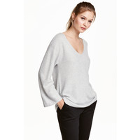 H&M Sweter 0423246002 Jasnoszary melanż
