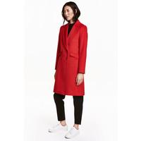 H&M Płaszcz z domieszką wełny 0416724004 Czerwony