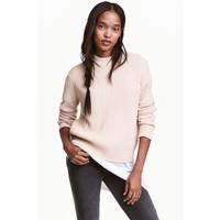 H&M Sweter w prążki 0405442001 Pudroworóżowy