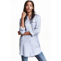 H&M Długa koszula 0398620005 Niebieski