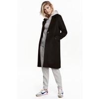 H&M Krótki płaszcz z wełną 0397438001 Czarny