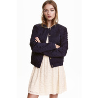 H&M Pikowana kurtka z haftem 0364664002 Ciemnoniebieski