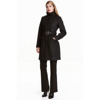 H&M Krótki płaszcz z wełną 0417642003 Czarny