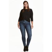 H&M H&M+ Elastyczne spodnie 0352811023 Ciemnoniebieski denim