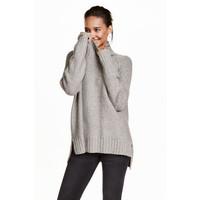H&M Sweter z kołnierzem golfowym 0390129007 Szary melanż