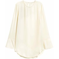 H&M Bluzka z długim rękawem 0421249007 Naturalna biel