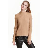 H&M Sweter w prążki 0405442001 Beżowy
