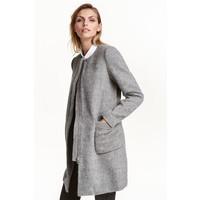 H&M Płaszcz z domieszką wełny 0395665003 Szary melanż