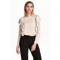 H&M Satynowa bluzka z falbanami 0432941004 Jasnobeżowy
