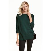 H&M Cienki sweter 0390125022 Ciemnozielony melanż