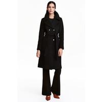 H&M Płaszcz z domieszką wełny 0411612001 Czarny