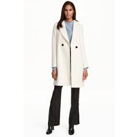 H&M Dwurzędowy płaszcz 0428396001 Naturalna biel