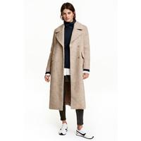 H&M Płaszcz z domieszką wełny 0397402001 Jasnobeżowy melanż