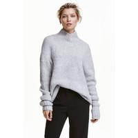 H&M Dzianinowy sweter z golfem 0428705003 Jasnoszary melanż