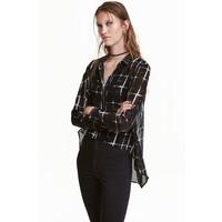 H&M Szyfonowa koszula 0337814005 Czarny/Wzór