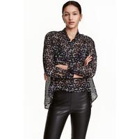 H&M Szyfonowa koszula 0337814005 Czarny/Biały wzór
