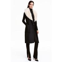 H&M Długi płaszcz z wełną 0411592001 Czarny