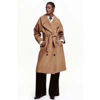 H&M Płaszcz z domieszką wełny 0418506001 Camel