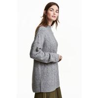 H&M Sweter w warkoczowy splot 0466129002 Szary melanż
