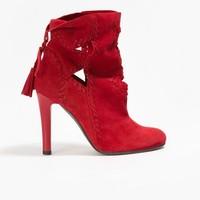 Badura Czerwone welurowe botki z fastrygami 7500-69-916-L