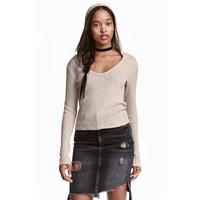 H&M Sweter z kapturem 0452422002 Jasnobeżowy