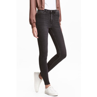 H&M Super Skinny High Jeans 0298273036 Czarny sprany