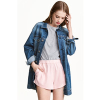 H&M Długa kurtka dżinsowa 0417088003 Ciemnoniebieski denim