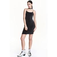 H&M Krótka sukienka na ramiączkach 0429273005 Czarny/Srebrny