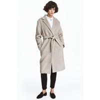 H&M Filcowany płaszcz z wełną 0459238002 Jasny brązowoszary